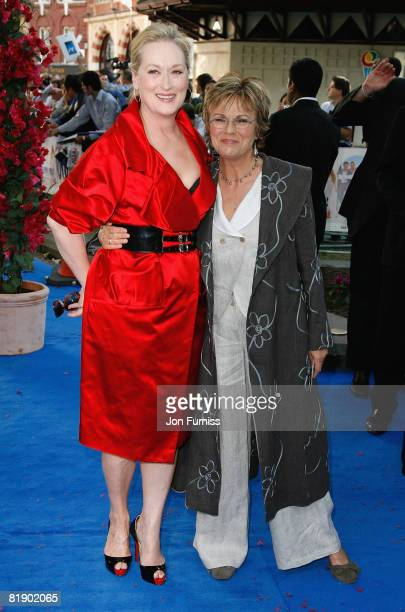 Actresses Meryl Streep and Julie Walters attends the Mamma Mia The Movie world premiere held at the Odeon Leicester Square on June 30 2008 in London...