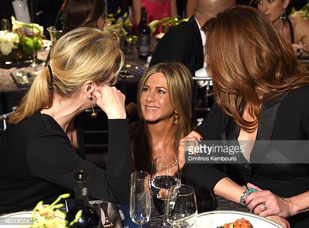 Actresses Meryl Streep Jennifer Aniston and Julia Roberts during TNT's 21st Annual Screen Actors Guild Awards at The Shrine Auditorium on January 25...