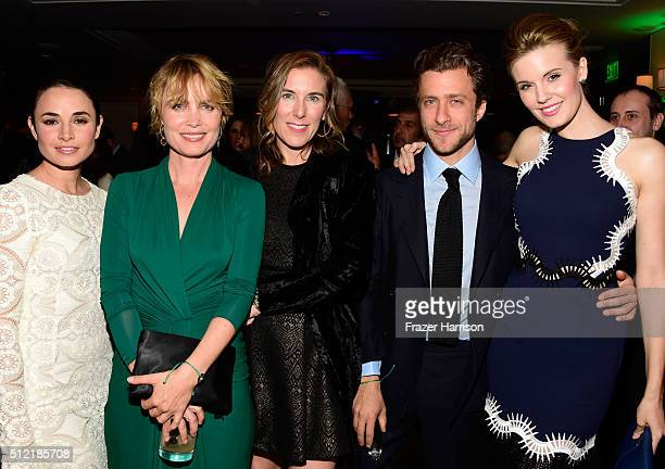 Actresses Mia Maestro Radha Mitchell photographer Francesco Carrozzini and actress Maggie Grace attend Global Green USA's 13th annual preOscar party...