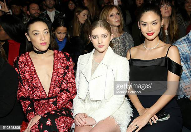 Actresses Mia Moretti Willow Shields and Miss Universe 2016 Pia Alonzo Wurtzbach attend the Naeem Khan Fall 2016 fashion show during New York Fashion...
