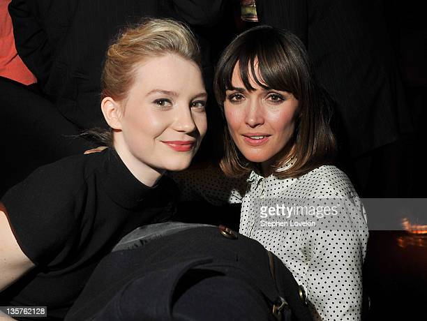 Actresses Mia Wasikowska and Rose Byrne attend the after party for the Giorgio Armani Cinema Society screening of 'Albert Nobbs' at the Armani...