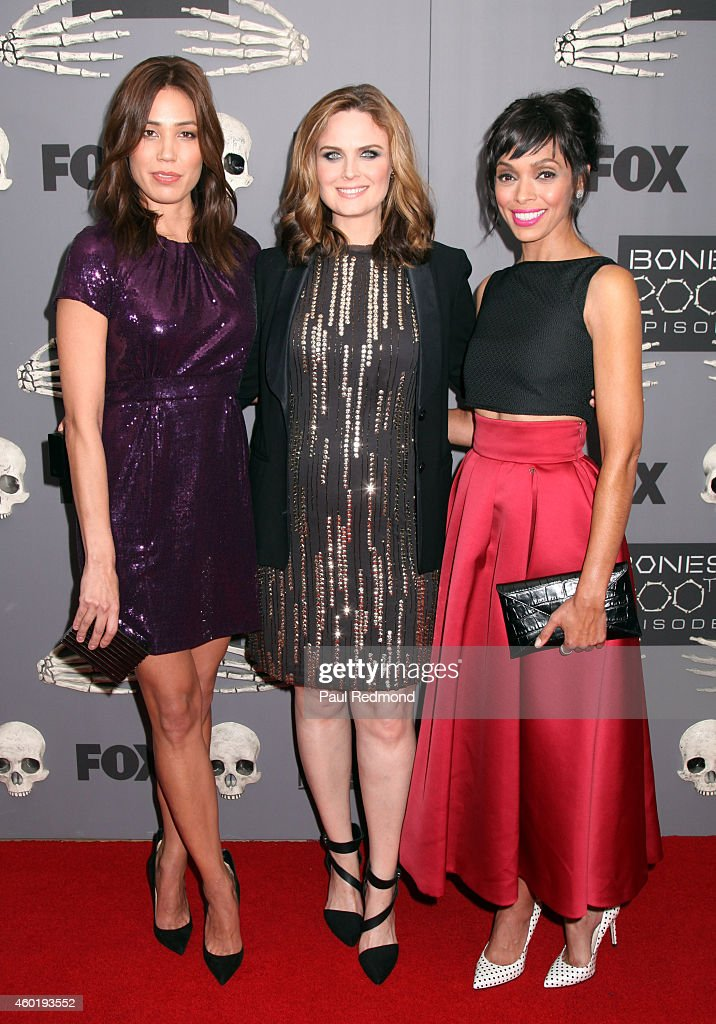 Actresses Michaela Conlin, Emily Deschanel and Tamara Taylor arriving at Bones 200th Episode Celebration at Herringbone, Mondrian LA on December 8, 2014 in Beverly Hills, California.