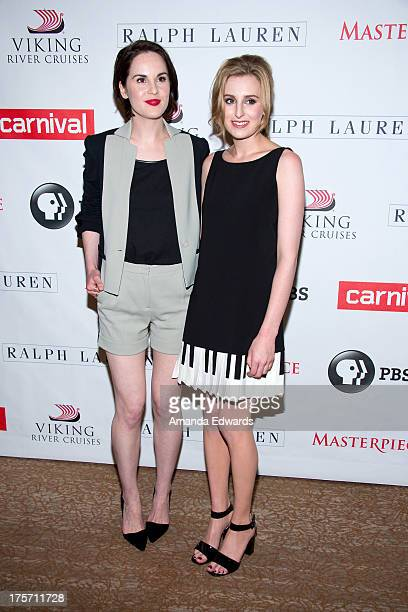 Actresses Michelle Dockery and Laura Carmichael arrive at the 'Downton Abbey' photo call at The Beverly Hilton Hotel on August 6 2013 in Beverly...
