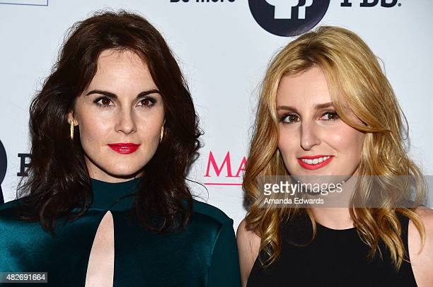Actresses Michelle Dockery and Laura Carmichael attend the 'Downton Abbey' cast photo call at The Beverly Hilton Hotel on August 1 2015 in Beverly...