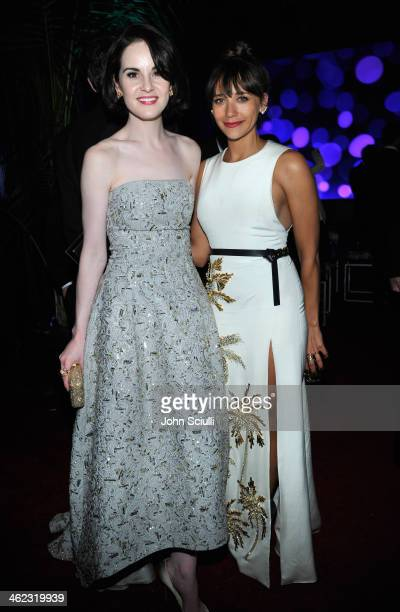 Actresses Michelle Dockery and Rashida Jones attend the 2014 InStyle And Warner Bros. 71st Annual Golden Globe Awards Post-Party at The Beverly...