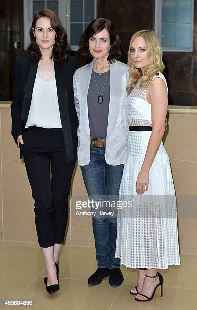 Actresses Michelle Dockery Elizabeth McGovern and Joanne Froggatt attend the press launch of Downton Abbey at May Fair Hotel on August 13 2015 in...