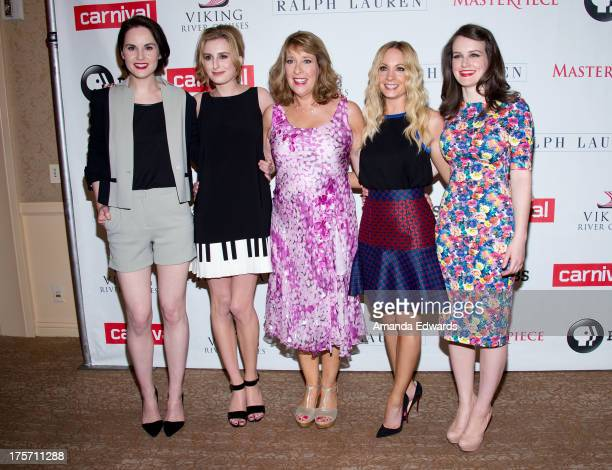 Actresses Michelle Dockery Laura Carmichael Phyllis Logan Joanne Froggatt and Sophie McShera arrive at the 'Downton Abbey' photo call at The Beverly...
