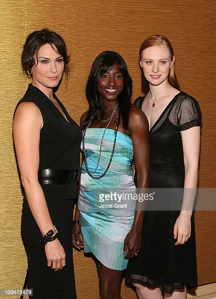 Actresses Michelle Forbes Rutina Wesley and Deborah Ann Woll attend the 25th Annual Television Critics Association Awards Cocktail Reception at The...