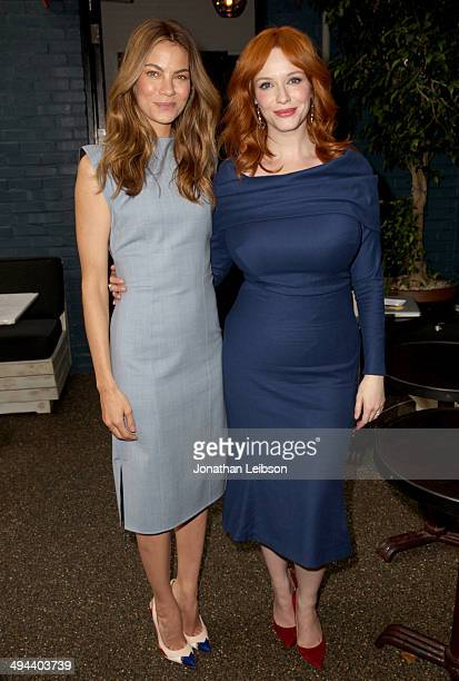 Actresses Michelle Monaghan and Christina Hendricks attend the Variety Studio powered by Samsung Galaxy at Palihouse on May 29 2014 in West Hollywood...