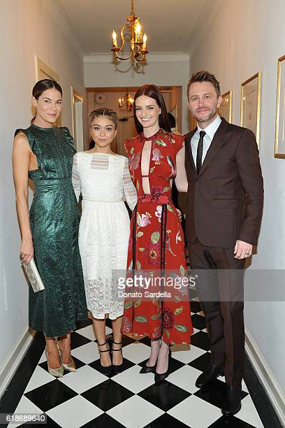 Actresses Michelle Monaghan Sarah Hyland and Lydia Hearst all wearing Burberry and TV personality Chris Hardwick attend the Vanity Fair and Burberry...