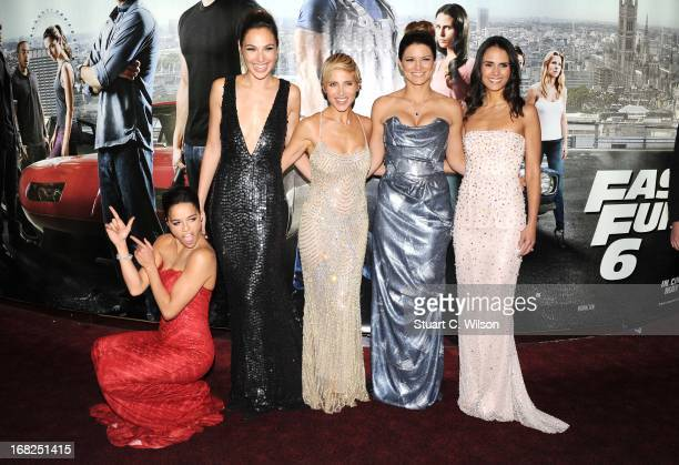 Actresses Michelle Rodriquez Gal Gadot Elsa Pataky Gina Carano and Jordana Brewster attend the Fast Furious 6 World Premiere at The Empire Leicester...