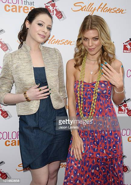 Actresses Michelle Trachtenberg and AnnaLynne McCord attend Sally Hansen's Color That Cares event on June 10 2010 in Hollywood California