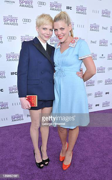 Actresses Michelle Williams and Busy Phillips with Toshiba at the 2012 Film Independent Spirit Awards at Santa Monica Pier on February 25 2012 in...
