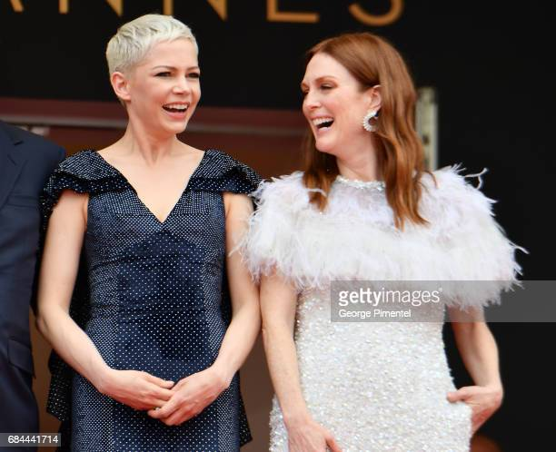 Actresses Michelle Williams and Julianne Moore attend the 'Wonderstruck' screening during the 70th annual Cannes Film Festival at Palais des...