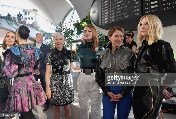Actresses Michelle Williams, Emma Stone, Lea Seydoux and Cate Blanchett attend the Louis Vuitton Cruise 2020 Fashion Show at TWA Flight Center at JFK...