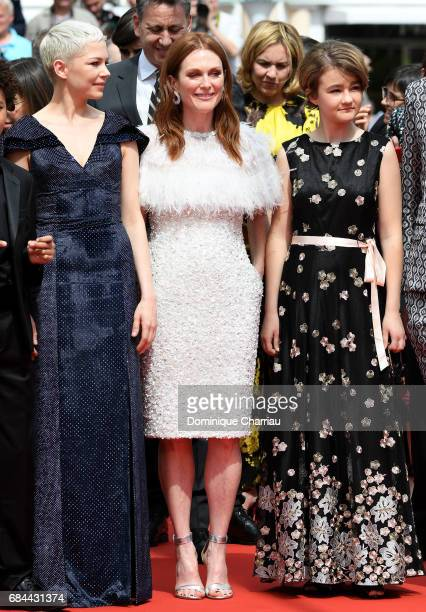 Actresses Michelle Williams Julianne Moore and Millicent Simmonds attend the Wonderstruck screening during the 70th annual Cannes Film Festival at...