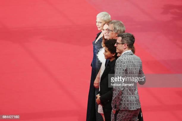 Actresses Michelle Williams Julianne Moore Director Todd Haynes actor Jaden Michael and Screenwriter Brian Selznick attend the 'Wonderstruck'...