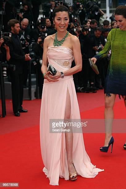 Actresses Michelle Yeoh and Evangeline Lily attends the 'You Will Meet A Tall Dark Stranger' Premiere at the Palais des Festivals during the 63rd...