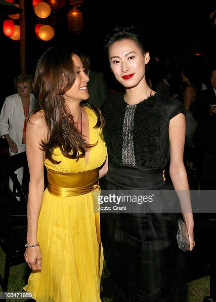 Actresses Michelle Yeoh and Isabella Leong attend the after party for the American premiere of The Mummy Tomb Of The Dragon Emperor at the Gibson...