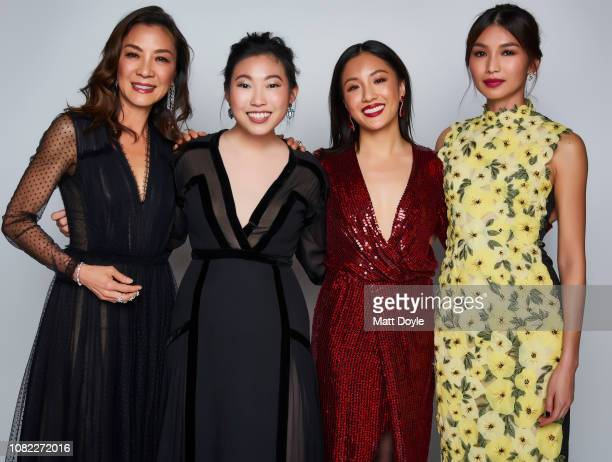 Actresses Michelle Yeoh Awkwafina Constance Wu and Gemma Chan pose for a portrait at The National Board of Review Annual Awards Gala on January 8...