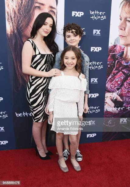 Actresses Mikey Madison Olivia Edward and Hannah Alligood arrive at the FYC Event for FX's 'Better Things' at the Saban Media Center on April 19 2018...