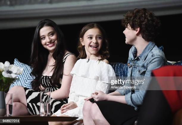 Actresses Mikey Madison Olivia Edward and Hannah Alligood attend the FYC Event for FX's 'Better Things' at the Saban Media Center on April 19 2018 in...