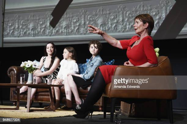Actresses Mikey Madison Olivia Edward Hannah Alligood and Celia Imrie attend the FYC Event for FX's Better Things at the Saban Media Center on April...