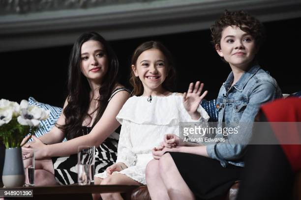 Actresses Mikey Madison Olivia Edward Hannah Alligood arrive at the FYC Event for FX's 'Better Things' at the Saban Media Center on April 19 2018 in...