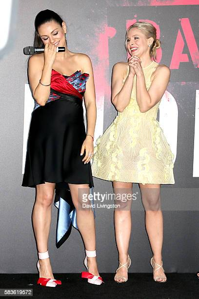 Actresses Mila Kunis and Kristen Bell attend the premiere of STX Entertainment's Bad Moms at Mann Village Theatre on July 26 2016 in Westwood...