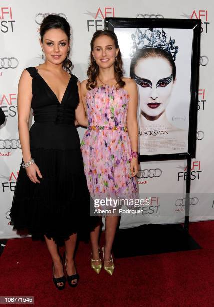 Actresses Mila Kunis and Natalie Portman arrive at the 'Black Swan' closing night gala during AFI FEST 2010 presented by Audi held at Grauman's...