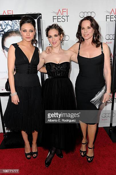 Actresses Mila Kunis Winona Ryder and Barbara Hershey arrive at the Black Swan closing night gala during AFI FEST 2010 presented by Audi held at...
