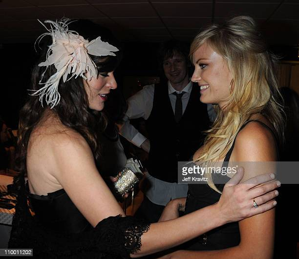 Actresses Milla Jovovich and Malin Akerman attend SPIKE TV's Scream 2008 Awards held at the Greek Theatre on October 18 2008 in Los Angeles California