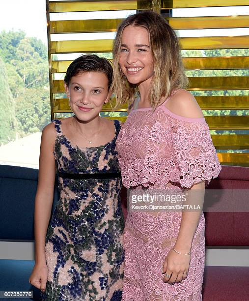 Actresses Millie Bobby Brown and Emilia Clarke attend the BBC America BAFTA Los Angeles TV Tea Party 2016 at The London Hotel on September 17 2016 in...