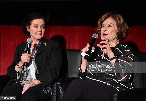 Actresses Millie Perkins and Diane Baker speak onstage before the screening of 'The Diary of Anne Frank' during day four of the 2015 TCM Classic Film...