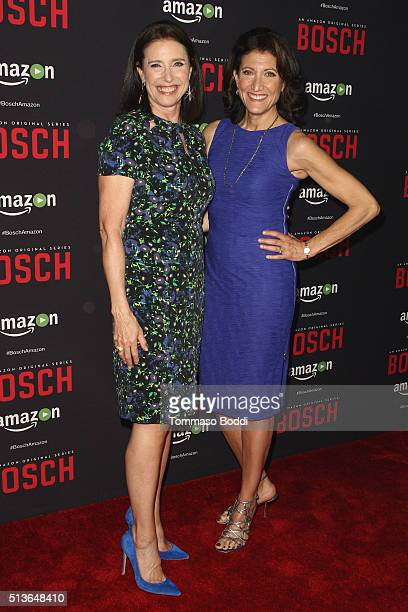 """Actresses Mimi Rogers and Amy Aquino attend the Premiere Of Amazon's """"Bosch"""" Season 2 held at the SilverScreen Theater at the Pacific Design Center..."""