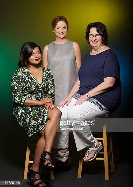 Actresses Mindy Kaling, Amy Poehler and Phyllis Smith are photographed for USA Today on June 7, 2015 in Beverly Hills, California.