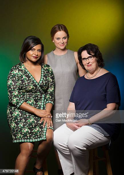 Actresses Mindy Kaling Amy Poehler and Phyllis Smith are photographed for USA Today on June 7 2015 in Beverly Hills California