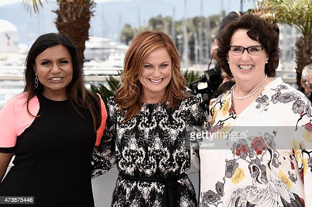 """Actresses Mindy Kaling, Amy Poehler and Phyllis Smith attend the """"Inside Out"""" Photocall during the 68th annual Cannes Film Festival on May 18, 2015..."""