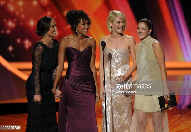 Actresses Minka Kelly Annie Ilonzeh Rachael Taylor and Drew Barrymore speak onstage during the 63rd Primetime Emmy Awards at the Nokia Theatre LA...