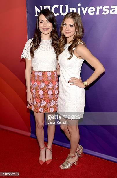 Actresses Miranda Cosgrove and Mia Serafino attend the 2016 NBCUniversal Summer Press Day at Four Seasons Hotel Westlake Village on April 1 2016 in...