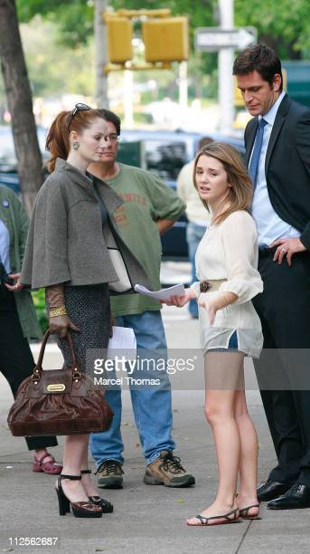 Actresses Miranda OttoNatalie Brawn and actor Peter Hermann filming a scene for the TV show ' Cashmere Mafia' on location on the upper Eastside...