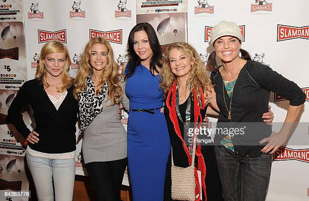 Actresses Mircea Monroe Denise Richards Christa Campbell Director Julie Davis and Actress Donnamarie Recco attend The Finding Bliss Premiere during...