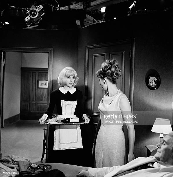 Actresses Mireille Darc and Liselotte Pulver On the Set of the Movie 'Monsieur' Directed By JeanPaul Le Chanois in Paris France in 1964