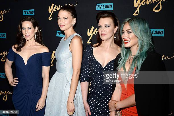 Actresses Miriam Shor Sutton Foster Debi Mazar and Hilary Duff attend the Premiere Of TV Land's Younger at Landmark Sunshine Cinema on March 31 2015...