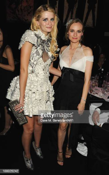 Actresses Mischa Barton and Diane Kruger attend amfAR's Cinema Against AIDS 2010 benefit gala dinner at the Hotel du Cap on May 20 2010 in Antibes...