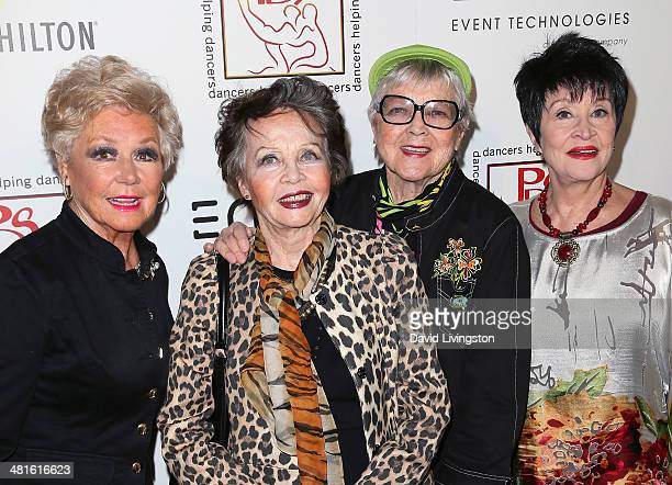 Actresses Mitzi Gaynor and Leslie Caron choreographer Dee Dee Wood and actress Chita Rivera attend the Professional Dancers Society's 27th Annual...