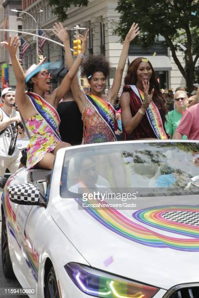 Actresses MJ Rodriguez Indya Moore and Dominique Jackson celebrate during the 2019 Pride Parade in New York City New York June 30 2019