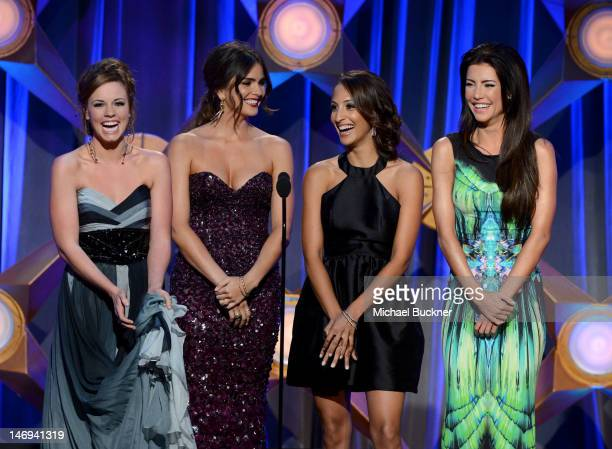 Actresses Molly Burnett Shelley Hennig Christel Kahlil and Jacqueline Macinnes Wood speak onstage during The 39th Annual Daytime Emmy Awards...
