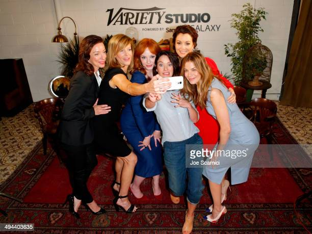 Actresses Molly Parker Anna Gunn Christina Hendricks Lena Headey Bellamy Young and Michelle Monaghan take a selfie during the Variety Studio powered...