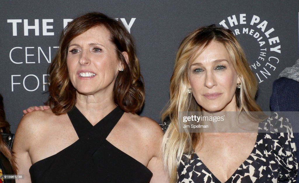 Actresses Molly Shannon (L) and Sarah Jessica Parker attend an evening with the cast of 'Divorce' at The Paley Center for Media on February 8, 2018 in New York City.